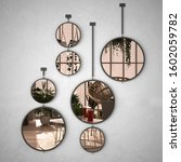 Round Mirrors Hanging On The...