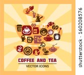 colorful coffee and tea icons... | Shutterstock .eps vector #160208576