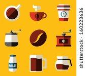 flat icon set. coffee | Shutterstock .eps vector #160223636