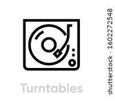 turntable vinyl icon. editable... | Shutterstock .eps vector #1602272548