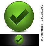 green tick in stylized sphere