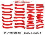 vector red ribbon banner set....   Shutterstock .eps vector #1602626035