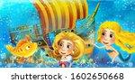 cartoon ocean scene and the...   Shutterstock . vector #1602650668