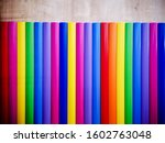 Rainbow Colored Bars With Wood...
