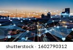 Small photo of Smart city and communication network concept. 5G. LPWA (Low Power Wide Area). Wireless communication.