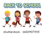 a group of children happily... | Shutterstock .eps vector #1602907555