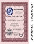 red vintage invitation. vector...   Shutterstock .eps vector #1602950425