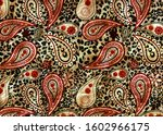 ethnic paisley 3d embroidery... | Shutterstock . vector #1602966175