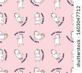 unicorn pattern animal pink...   Shutterstock .eps vector #1603047712