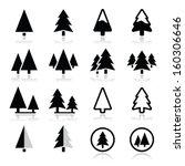 Pine Tree Vector Icons Set