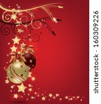 christmas postcard with gold... | Shutterstock .eps vector #160309226