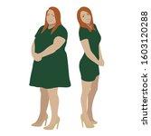 redhead girl in green dress... | Shutterstock .eps vector #1603120288