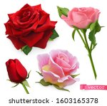 red and pink roses. 3d... | Shutterstock .eps vector #1603165378