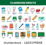classroom objects vector... | Shutterstock .eps vector #1603199848