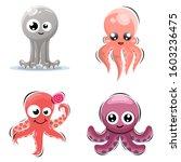 adorable cute squid mascot... | Shutterstock .eps vector #1603236475