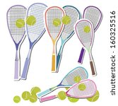 tennis set of rackets and balls | Shutterstock .eps vector #160325516