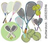 tennis racket and balls vector | Shutterstock .eps vector #160325546