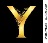 gold letter y logo baroque style | Shutterstock .eps vector #1603289005