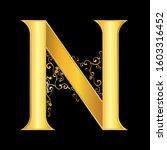 gold letter n logo baroque style | Shutterstock .eps vector #1603316452