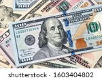 american dollars. a stack of... | Shutterstock . vector #1603404802