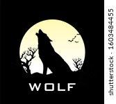Silhouette Des Wolfs Heulen Auf ...