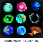 set of watercolor label  bubble ... | Shutterstock .eps vector #160354286