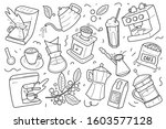 set of coffee outline drawings  ... | Shutterstock .eps vector #1603577128