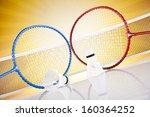 shuttlecock on badminton racket   Shutterstock . vector #160364252