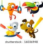 vector animal set 46: olympic: monkey, toucan, duck, dog