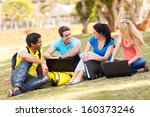 group of cheerful university... | Shutterstock . vector #160373246