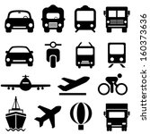 transportation icon set in black | Shutterstock .eps vector #160373636