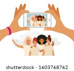 girls take pictures on the... | Shutterstock .eps vector #1603768762