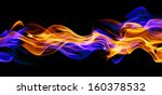 Blue And Red Fire Isolated On...