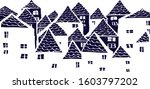cute vector houses. dark blue... | Shutterstock .eps vector #1603797202
