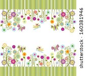 cute frame with flowers and... | Shutterstock . vector #160381946