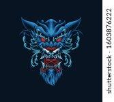 wolf ornament head vector...   Shutterstock .eps vector #1603876222