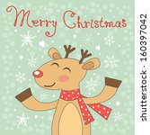 cute merry christmas card with... | Shutterstock .eps vector #160397042