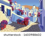 summer cityscape with... | Shutterstock .eps vector #1603988602