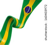 brazil ribbon flag on white background