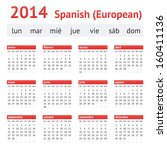 calendar 2014  spain . european ... | Shutterstock .eps vector #160411136