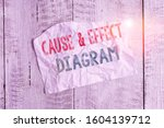 Small photo of Text sign showing Cause and Effect Diagram. Conceptual photo Visualization tool to categorize potential causes Crumpled torn paper half broken placed above classic wooden background.