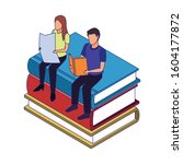 people reading sitting on stack ...   Shutterstock .eps vector #1604177872