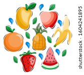 fruits collection design vector ... | Shutterstock .eps vector #1604241895