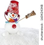 Cheerful Snowman With Red Color ...