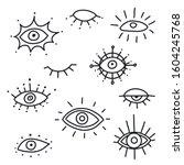 evil eye vector isolated doodle ... | Shutterstock .eps vector #1604245768