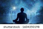 yoga cosmic space meditation... | Shutterstock . vector #1604350198