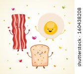 cute breakfast  bacon  fried... | Shutterstock .eps vector #160438208