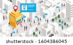 promote your local business... | Shutterstock .eps vector #1604386045