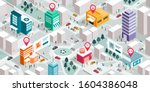 isometric city map with people  ... | Shutterstock .eps vector #1604386048