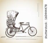 sketch of cycle rickshaw | Shutterstock .eps vector #160444478
